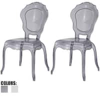 2xhome - Set of 2 Clear Plastic Chairs Side Chairs Dining Chair Modern