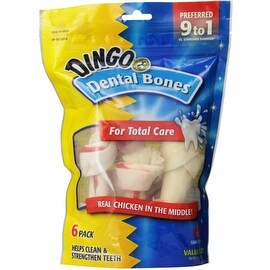 Dingo Brand Chicken & Rawhide Small Dental Bone 6 ea