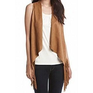Karen Kane NEW Brown Women's Size XL Faux-Suede Fringe-Hem Vest