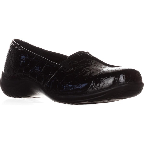 Easy Street Purpose Slip-On Flats, Black Patent Croc