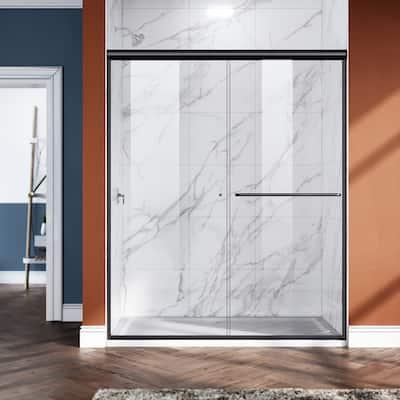 ELEGANT 48''W x 72''H Semi-Frameless Sliding Shower Door