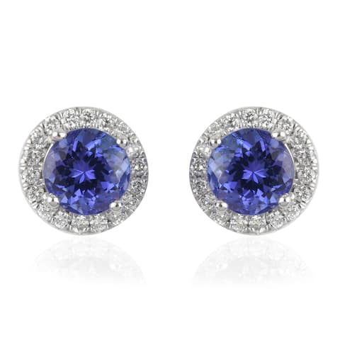 950 Platinum Tanzanite Diamond Stud Earrings Ct 2.2 Vs1 Clarity