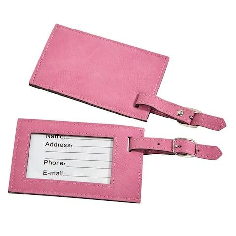 "4.25"" x 2.75"" Pink Rectangular Leatherette Luggage Tag"
