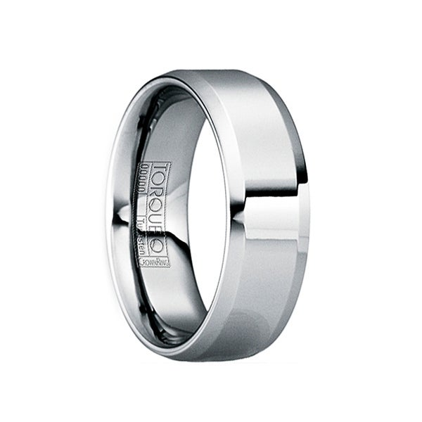 MARTIALIS Beveled & Raised Tungsten Wedding Band with Polished Finish by Crown Ring