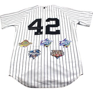 Mariano Rivera New York Yankees Authentic Pinstripe Jersey with World Series Patches