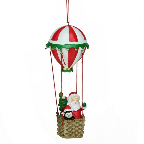 """6"""" Santa and Penguin in Red and White Striped Hot Air Balloon Christmas Ornament"""