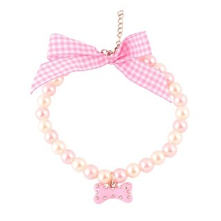 Festival Metal Chain Round Beads Bone Charm Pendent Adjustable Pet Necklace Pink