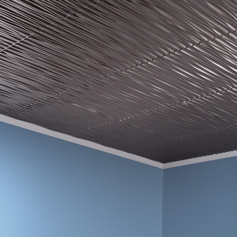 Shop Fasade Dunes Horizontal Decorative Vinyl 2ft X 2ft Glue Up Ceiling Tile In Brushed Nickel 5 Pack Overstock 32192247 5 Pack