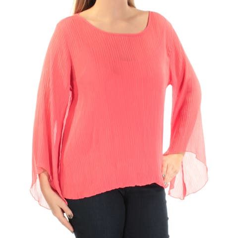 ALFANI Womens Coral Pleated Kimono Sleeve Jewel Neck Blouse Top Size: L