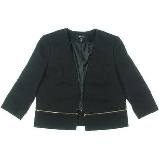 Nine West Womens Zip Hem Lined Open-Front Blazer