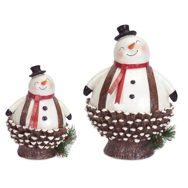 """Pack of 4 Jolly Pine Cone Snowmen Table Top Christmas Decorations 8.5""""-13.5"""""""
