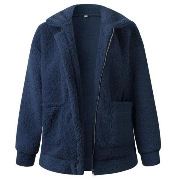 Women's Lapel Zip Up Faux Shearling Shaggy Oversized Coat Jacket With Pockets Warm Winter. Opens flyout.