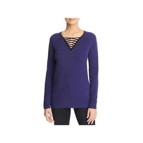 Nic + Zoe Womens Pullover Sweater Lace-Up Ribbed