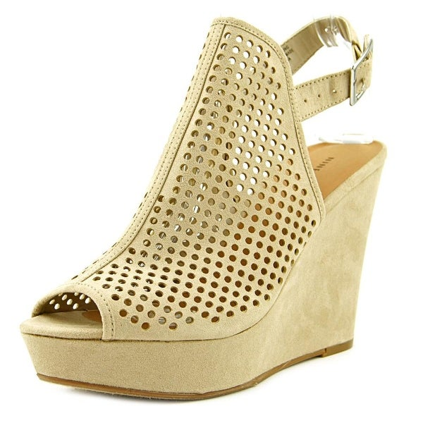 Nine West Chaddiex 5 Women Open Toe Canvas Tan Wedge Heel