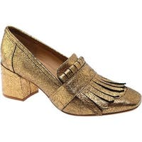 Kenneth Cole New York Women's Macey Block Heel Pump Gold Leather