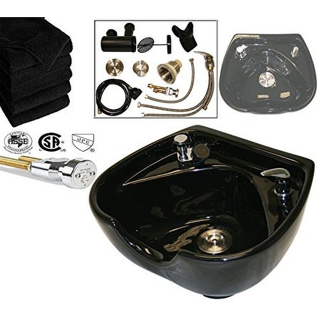 LCL Beauty Heart Shaped Ceramic Black Shampoo Bowl with Vacuum Breaker and 6 Towels