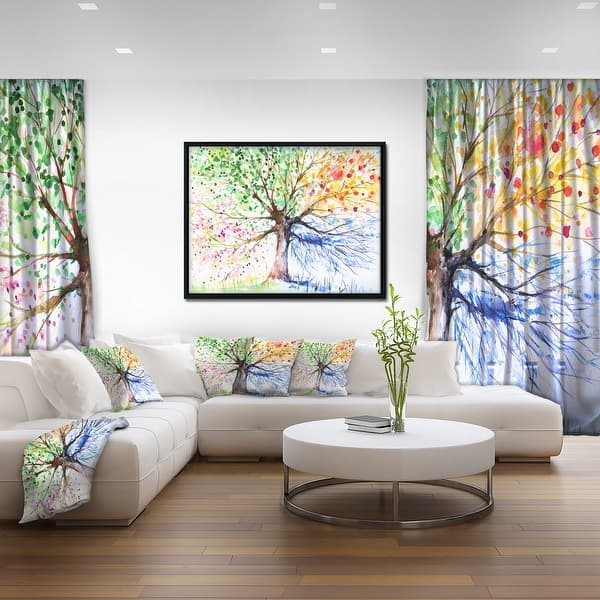 Designart Four Seasons Tree Floral Art Framed Canvas Print On Sale Overstock 18951580