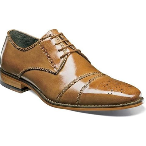 Stacy Adams Men's Talbot Cap Toe Oxford 25125 Tan Buffalo Leather