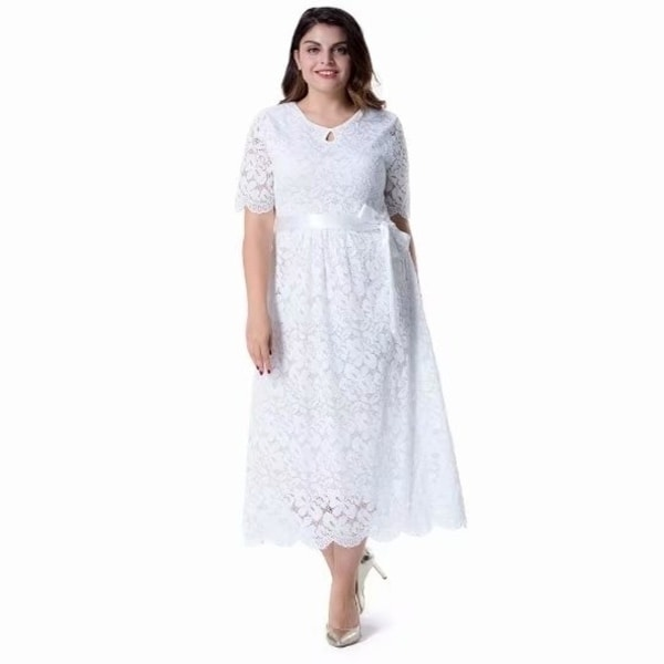 Women's Plus Size Short Sleeves Mother of The Bride Cocktail True Wrap Lace Dress