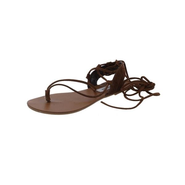 Steve Madden Womens Walkitt Flat Sandals Open Toe Lace Up