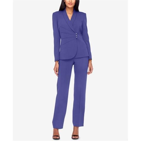 Tahari Womens Solid Dress Pants, purple, 10