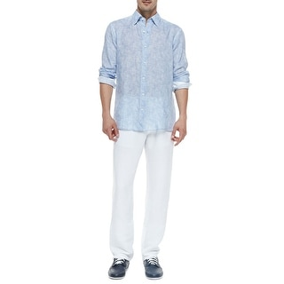 Zegna Sport Linen Flat Front Drawstring Casual Pants White Small S