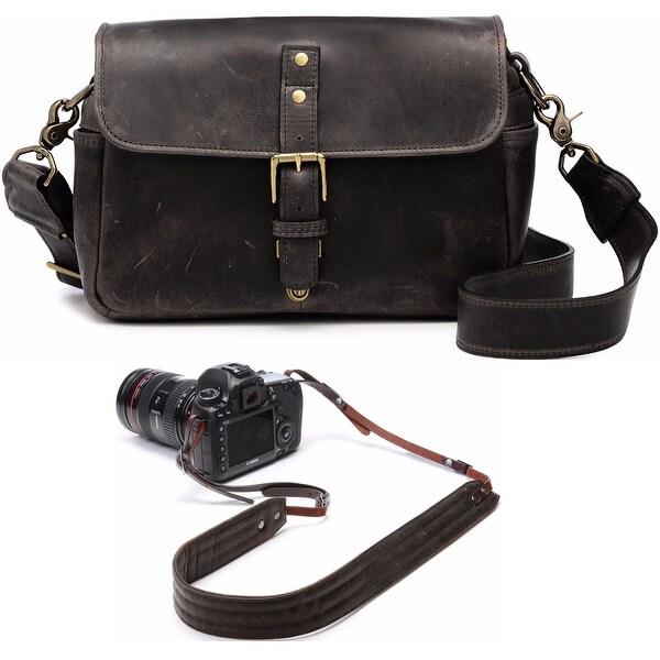 ONA Bowery Leather Camera Messenger Bag (Black) & Presidio Camera Strap (Brown)