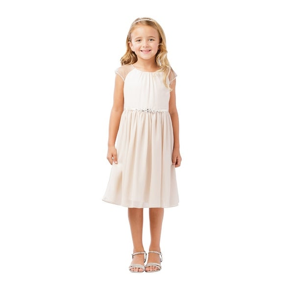 402826f99dd Shop Little Girls Champagne Ilussion Short Sleeved Chiffon Flower Girl Dress  - Free Shipping On Orders Over  45 - Overstock.com - 21335542