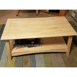 Shop bombay unfinished solid parawood tall coffee table - How tall is a coffee table ...