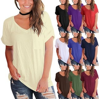 Loose Cut Short Sleeve Top with Pocket