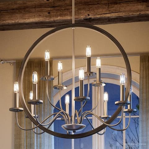 "Luxury Modern Farmhouse Chandelier, 28.75""H x 32""W, with English Country Style, Brushed Nickel Finish by Urban Ambiance - 32"