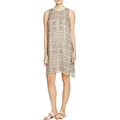 Eileen Fisher Womens Petites Tunic Dress Silk Graphic