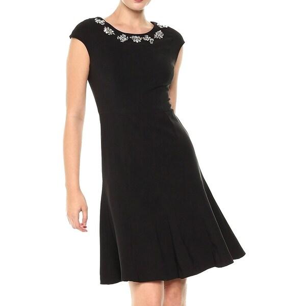 Jax Black Womens Size 2 Embellished Fit & Flare A-Line Dress