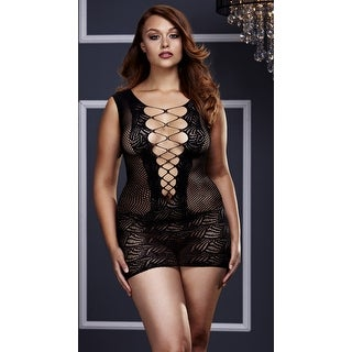 Plus Size Corset Style Fishnet And Lace Mini Dress, Plus Size Cut-out Lace Mini Dress - Black - queen size