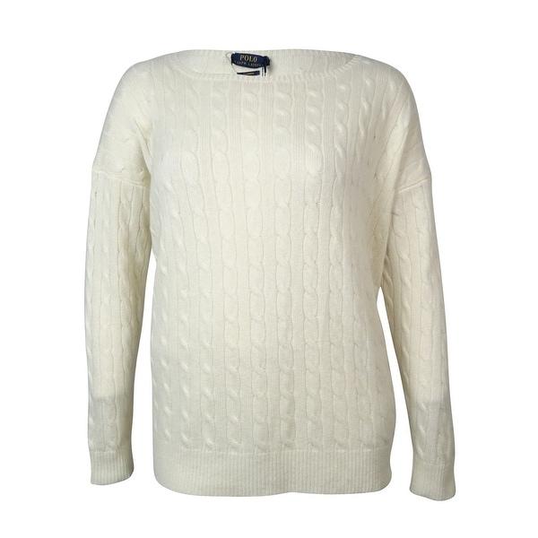 Shop Polo Ralph Lauren Womens Cable Knit Cashmere Dolman Sweater