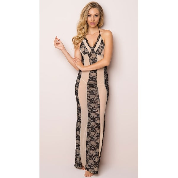 Shop Alluring Lace Lingerie Gown - Nude/Black - Free Shipping Today ...