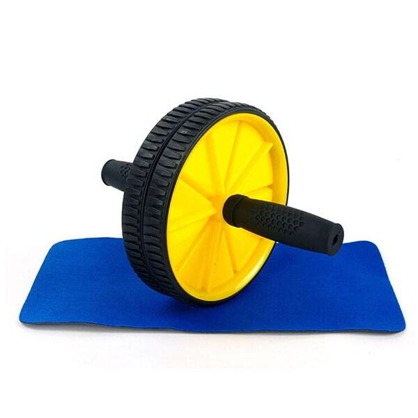 Abdominal Sport Training Wheel Roller BodyBuilding Workout Fitness Exerciser Yellow