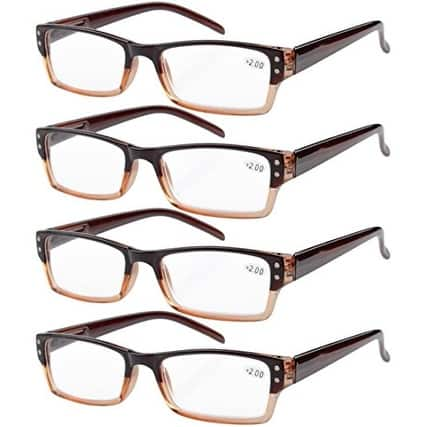 Eyekepper 4-pack Spring Hinges Rectangular Reading Glasses Brown +1.75
