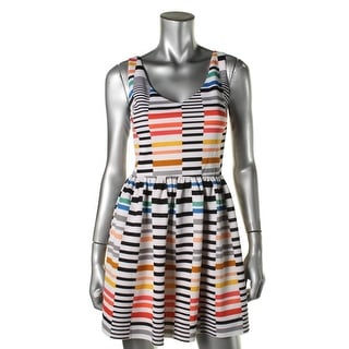 Aqua Womens Juniors Printed Double-V Mini Dress