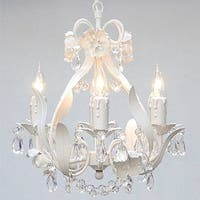 White Wrought Iron Floral Chandelier Lighting Crystal Flower Chandelier Lighting H15 x 11