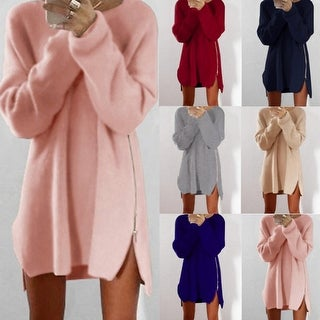 Link to Women's Warm Loose Above Knee Polyester Plain Knitted Zipper Sweater Similar Items in Women's Sweaters