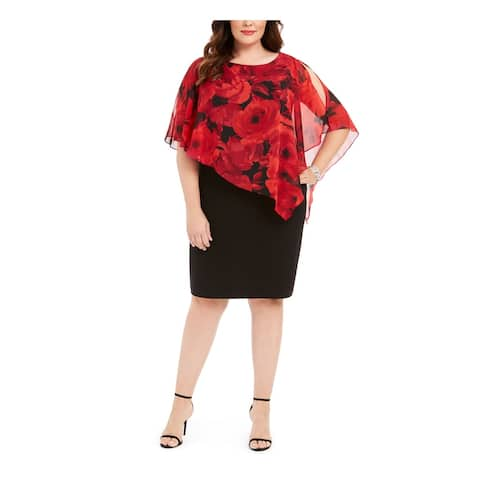 CONNECTED APPAREL Red Petal Sleeve Knee Length Dress 20W