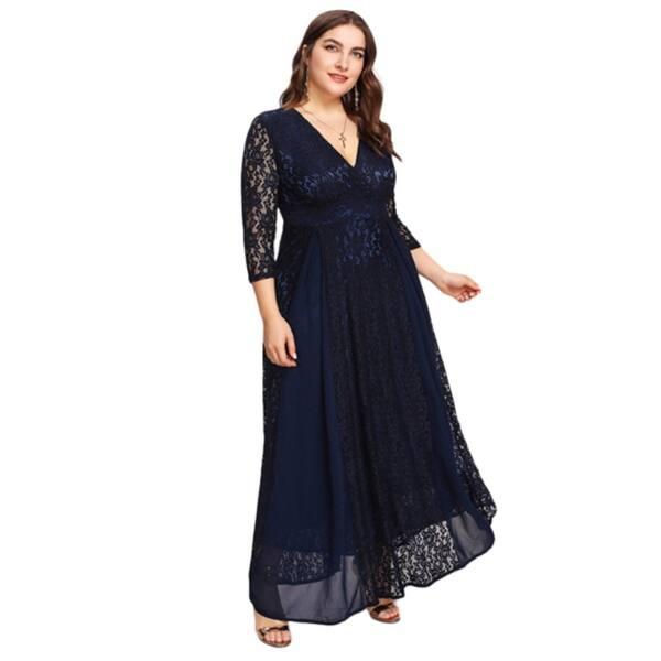 Shop Women\'s Plus Size High Waist Lace Overlay Evening Maxi ...