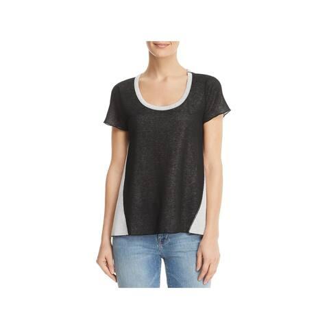 Three Dots Womens T-Shirt Reversible Color Block