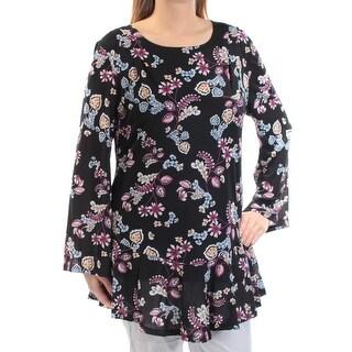 Womens Black Purple Floral Kimono Sleeve Jewel Neck Top Size L