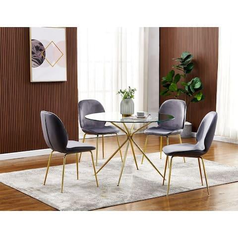 Best Master Furniture 5 Pieces Gold Round 43 x 43 Inches Dinette Set