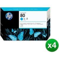 HP 80 350-ml Cyan DesignJet Ink Cartridge (C4846A) (4-Pack)