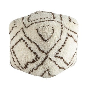 "20""Cream and Earth Brown Scandinavian Hand Knotted Foot Stool Ottoman"