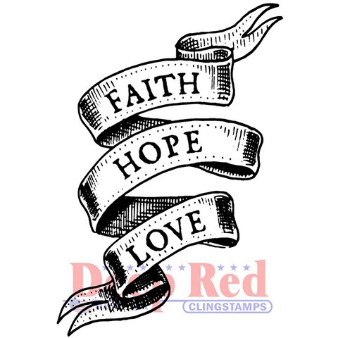 Deep Red Stamps Faith Hope Love Rubber Cling Stamp - 2.1 x 3.1