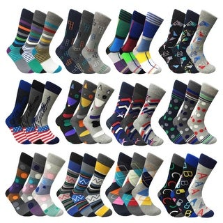 Mens Mixed Funny Colorful Novelty Crew Casual Patterned Socks 3 Pair Bundle